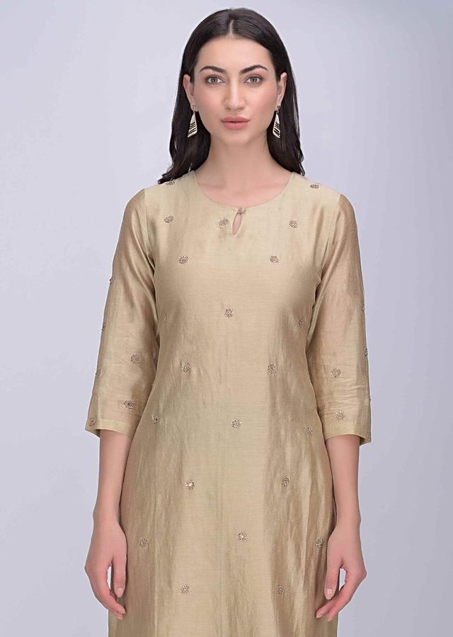 Oat Beige Straight Cut Sharara Suit In Cotton Silk Online - Kalki Fashion
