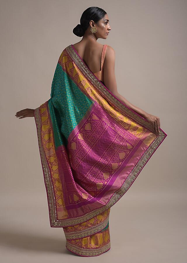 Ocean Blue Saree In Silk With Ikkat Weaved Mesh Pattern All Over And Sequins Work On The Border Online - Kalki Fashion
