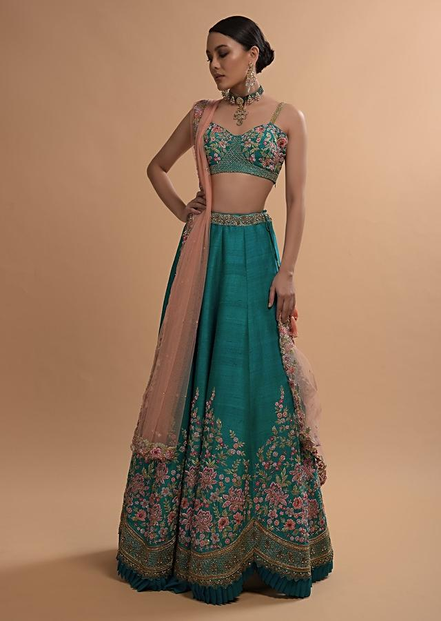 Ocean Green Lehenga Choli In Raw Silk With Resham Embroidered Spring Blooms And Scallop Hem Online - Kalki Fashion