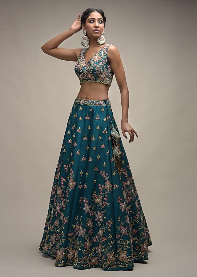 Ocean Green Lehenga Choli In Raw Silk With Colorful Resham Embroidered Spring Blossoms Online - Kalki Fashion