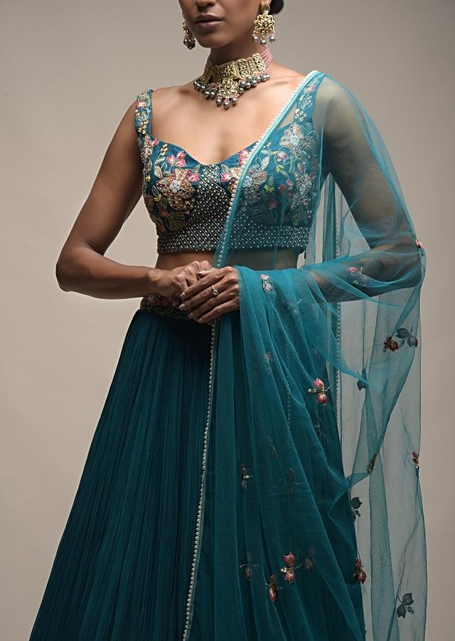 Ocean Green Lehenga With Gathered Flair And Resham Embroidered Spring Blooms On The Choli Online - Kalki Fashion