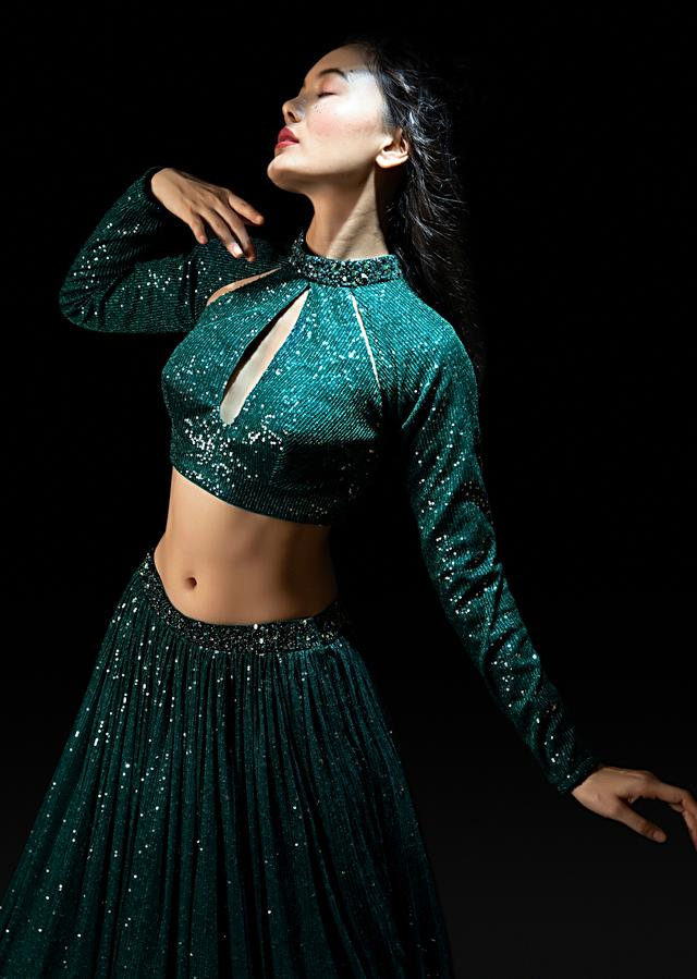 Mermaid Green Sequins Skirt And Crop Top Set With Cut Out Detailing And Hand Embroidered Collar Online - Kalki Fashion