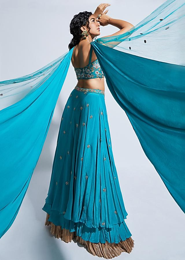 Ocean Green Skirt And Crop Top With An Attached Criss Cross Drape On The Neckline Shoulders Online - Kalki Fashion