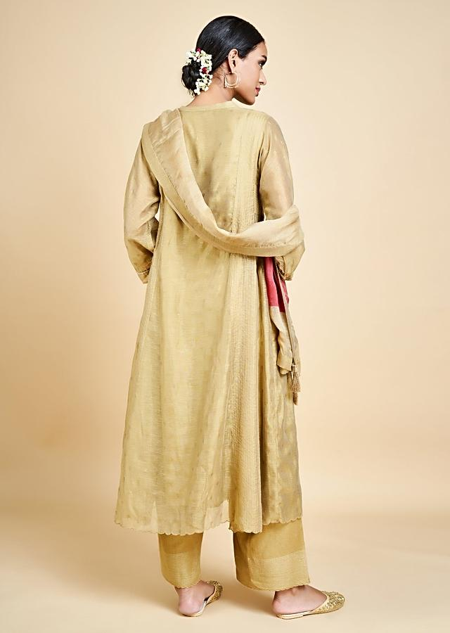 Ochre A Line Suit In Cotton Silk With Foil Printed Buttis And Zari Weaved Stripes Online - Kalki Fashion