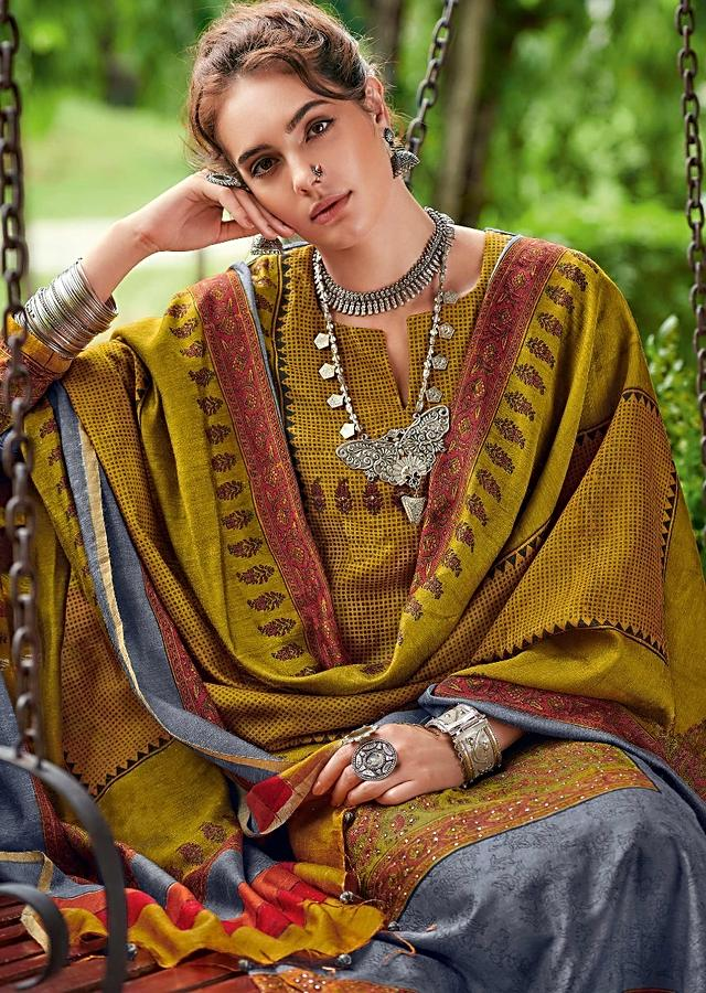 Ochre And Green Straight Cut Suit In Tussar Silk With Block Print In Ethnic Pattern Online - Kalki Fashion