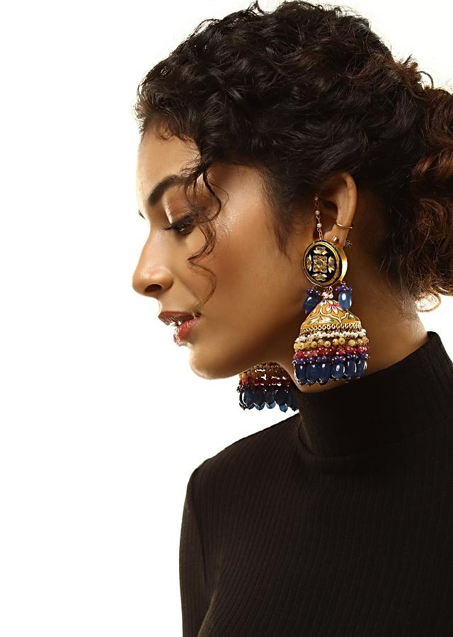 Ochre And Navy Blue Jhumkas With Hand Painted Enamel Work And Kundan Detailing Along With Multi Colored Bead Fringes By Kohar