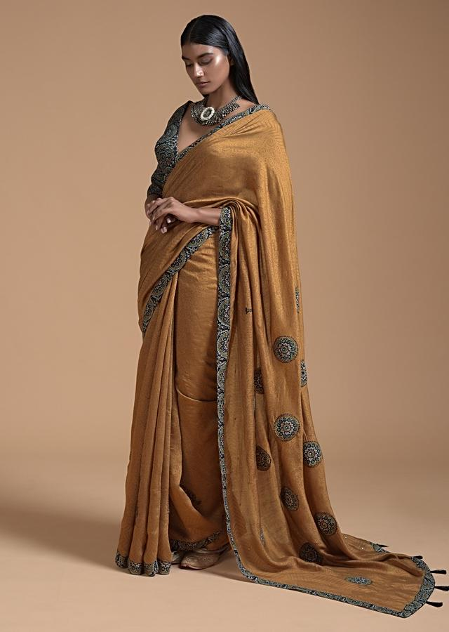 Ochre Brown Saree In Cotton With Multi Color Block Printed Applique And Self Jaal Print Online - Kalki Fashion