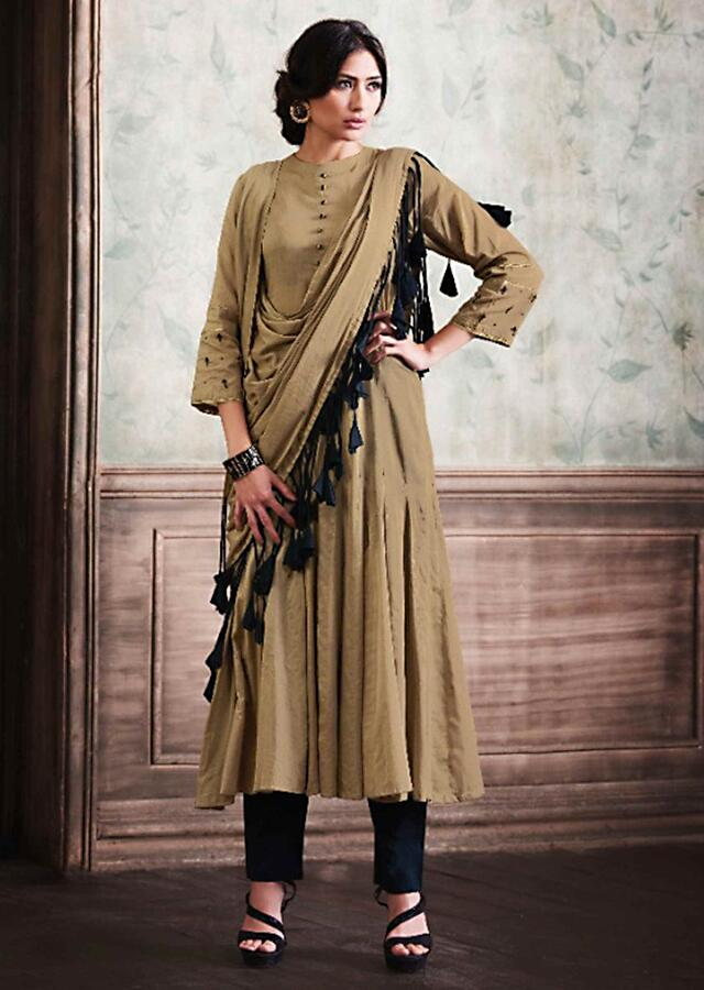Ochre Tunic In Cotton With Attached Dupatta Online - Kalki Fashion