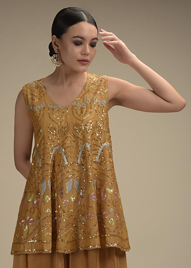 Ochre Palazzo Suit In Georgette With Colorful Sequins And Zari Embroidered Tribal Design Online - Kalki Fashion