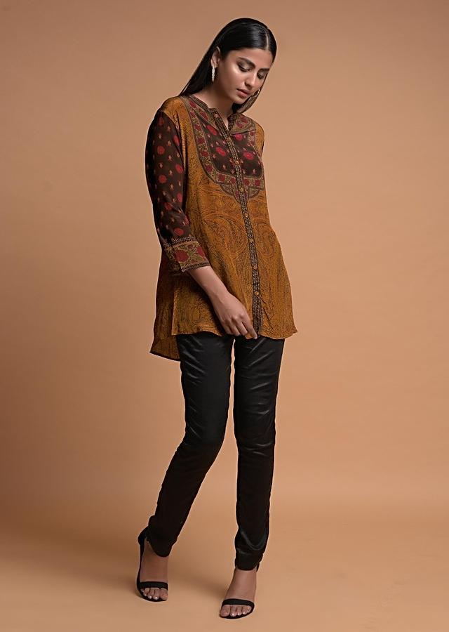 Ochre Short Kurti In Crepe With Floral And Abstract Print Online - Kalki Fashion
