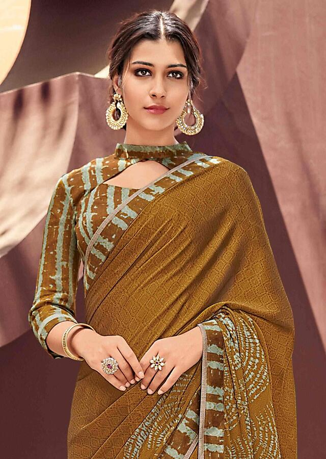 Ochre Yellow Saree In Georgette With Printed Silk Blouse Piece Online - Kalki Fashion