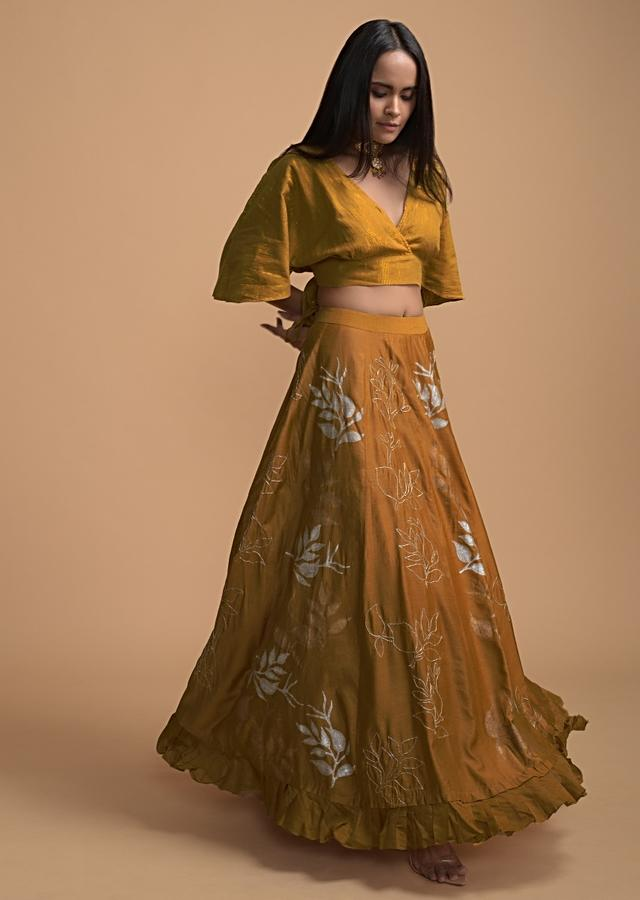 Ochre Yellow Lehenga And Crop Top With Foil Printed Leaf Motifs Online - Kalki Fashion