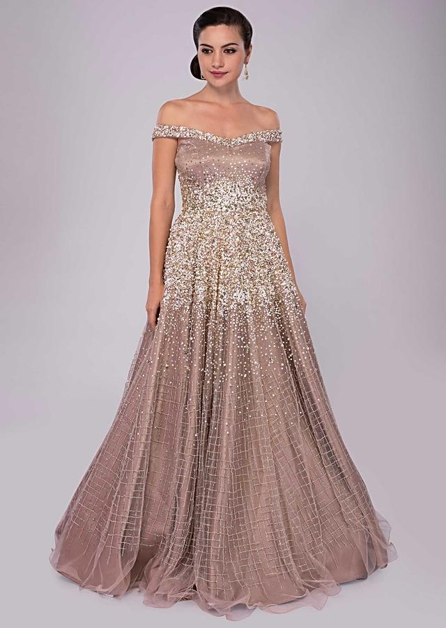 Champagne Beige Gown With Cut Dana And Salli Work And Off Shoulder Neckline Online - Kalki Fashion