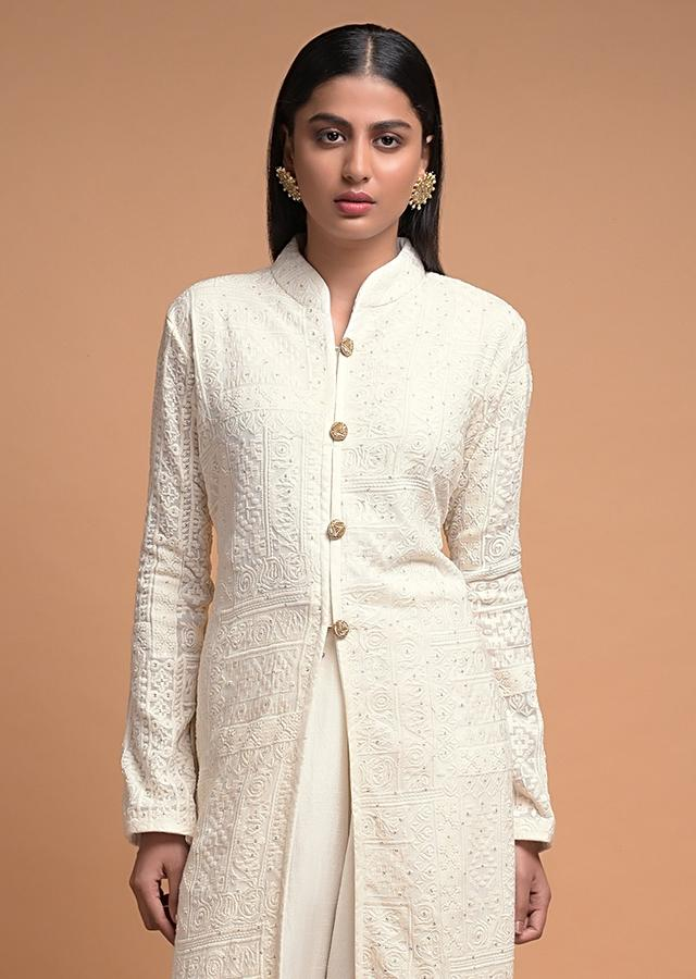 Off White A Line Palazzo Suit In Georgette Adorned With Lucknowi Thread Embroidery Online - Kalki Fashion