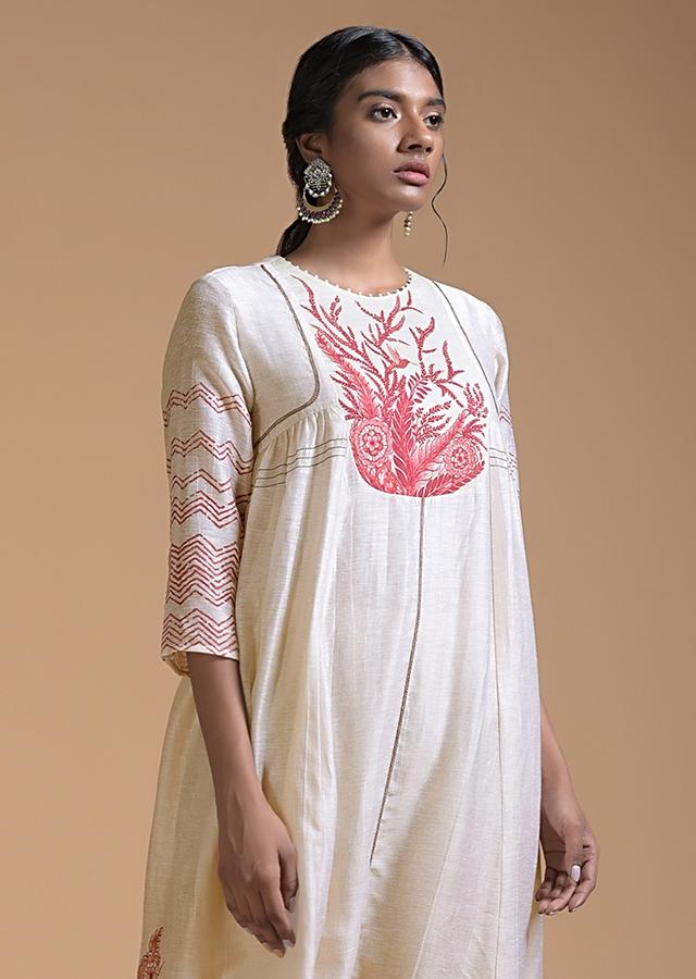 Off White Anarkali Suit In Cotton With Red Floral And Zig Zag Print Online - Kalki Fashion