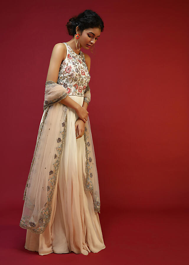 Off White Anarkali Suit With Halter Neckline And Adorned In Multicolored Hand Embroidered Floral Design On The Bodice Online - Kalki Fashion