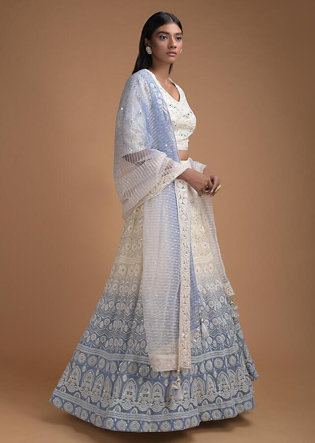 Off White And Celestial Blue Ombre Lehenga With Lucknowi Work In Floral And Chevron Pattern Online - Kalki Fashion