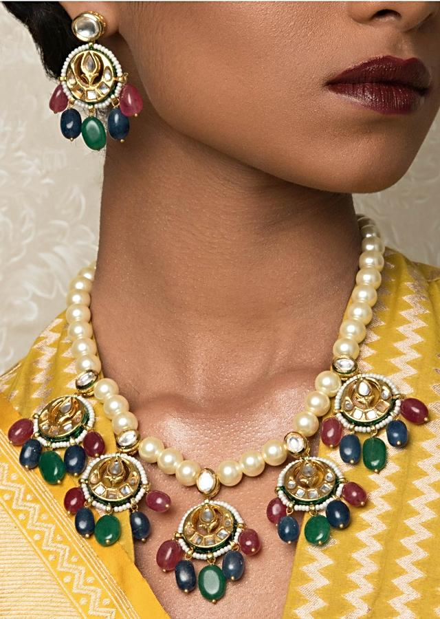 Off White And Green Necklace And Earrings Set With Kundan, Beads And Pearls Online - Joules By Radhika