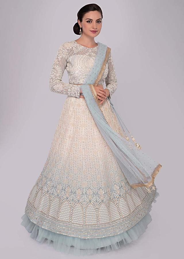 Off White And Mist Blue Lehenga Set With Shaded Effect And Lucknowi Thread Embroidery Online - Kalki Fashion