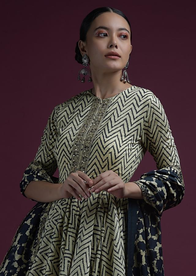 Off White And Navy Blue Peplum Sharara Suit In Cotton With Chevron Print And Contrasting Printed Dupatta Online - Kalki Fashion