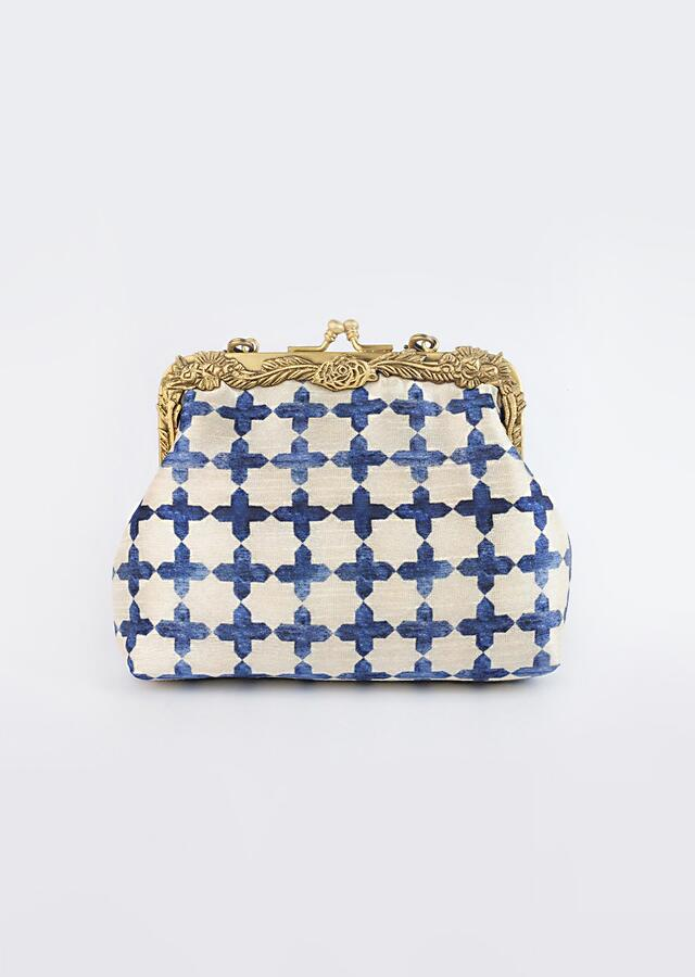 Off White And Royal Blue Clutch With Old Age Classic Jaali Print By Vareli Bafna