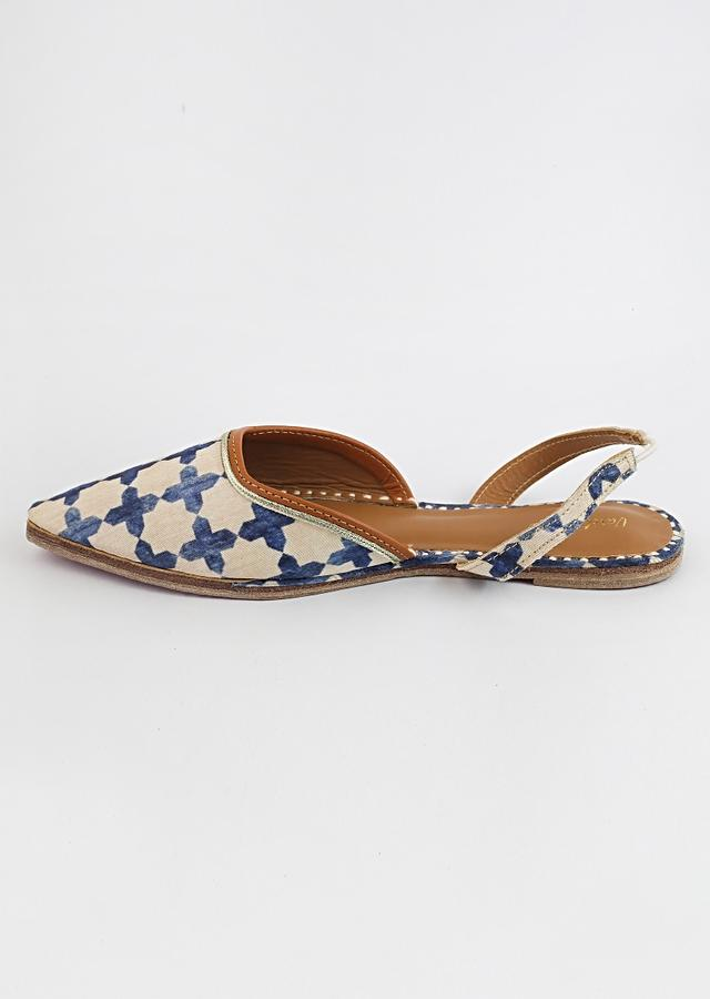 Off White And Royal Blue Mules With Back Sling And Jaal Print By Vareli Bafna