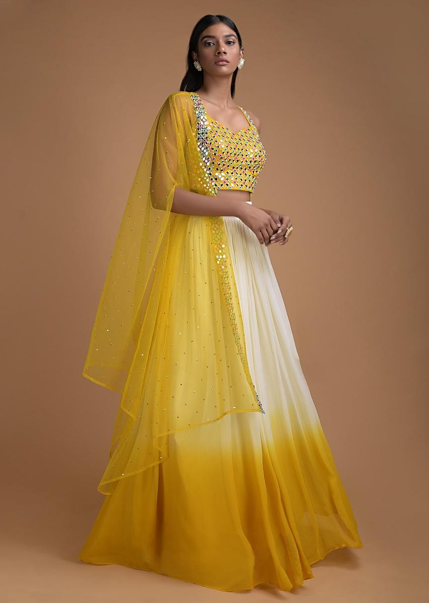 Off White And Sun Yellow Ombre Jacket Lehenga With Abla Embellished Crop Top Online - Kalki Fashion`