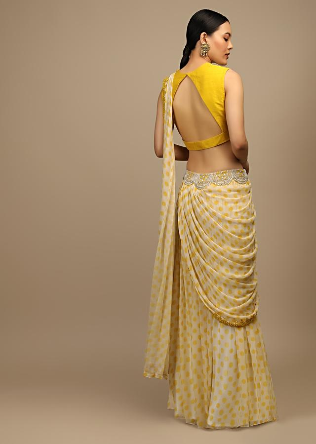 Off White And Yellow Flared Palazzo Saree In Georgette With Polka Dot Print And Mirror Embroidered Crop Top Online - Kalki Fashion