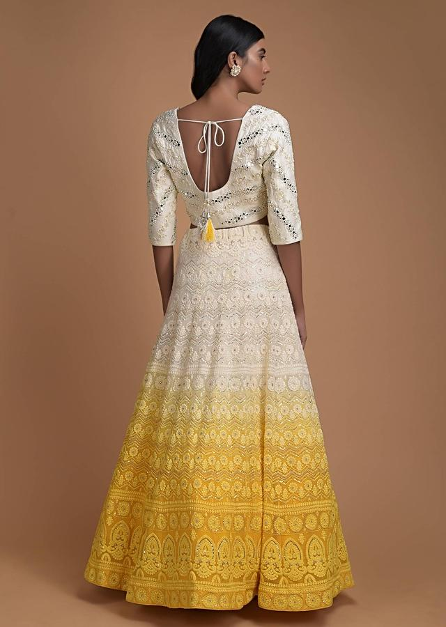 Off White And Yellow Ombre Lehenga With Lucknowi Work In Floral And Chevron Pattern Online - Kalki Fashion
