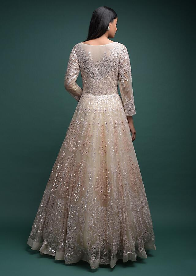 Off White Ball Gown In Net With Thread And Sequins Embroidered Floral Motifs In Kali Pattern Online - Kalki Fashion
