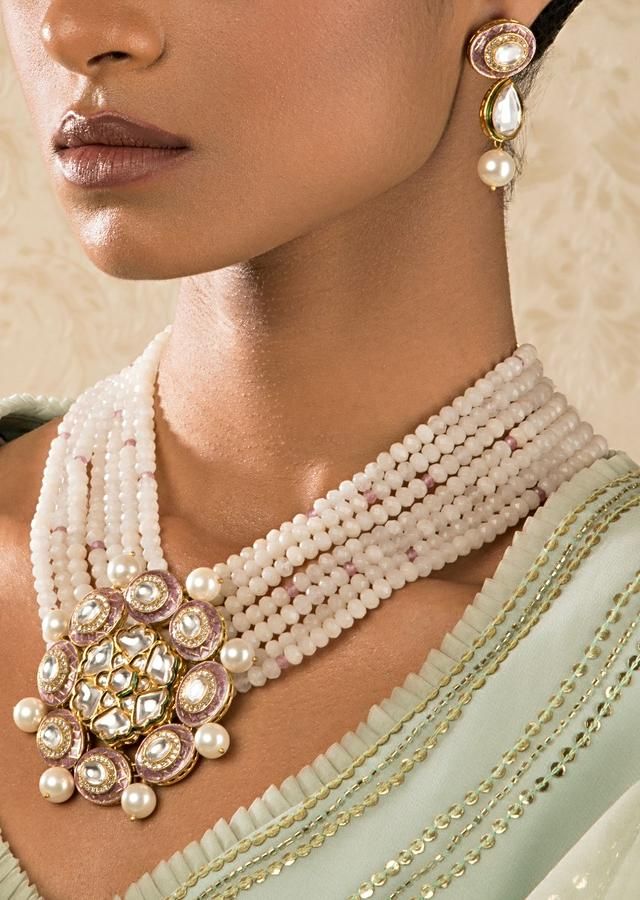 Off White Beads Necklace And Earrings Set With Pink Enamel Work, Kundan And Shell Pearls Online - Joules By Radhika