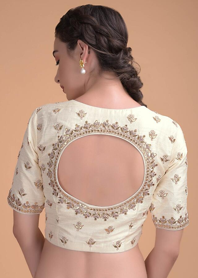 Off White Blouse In Raw Silk With Gotta Patches, Zardosi And Pearls Embroidery Online - Kalki Fashion
