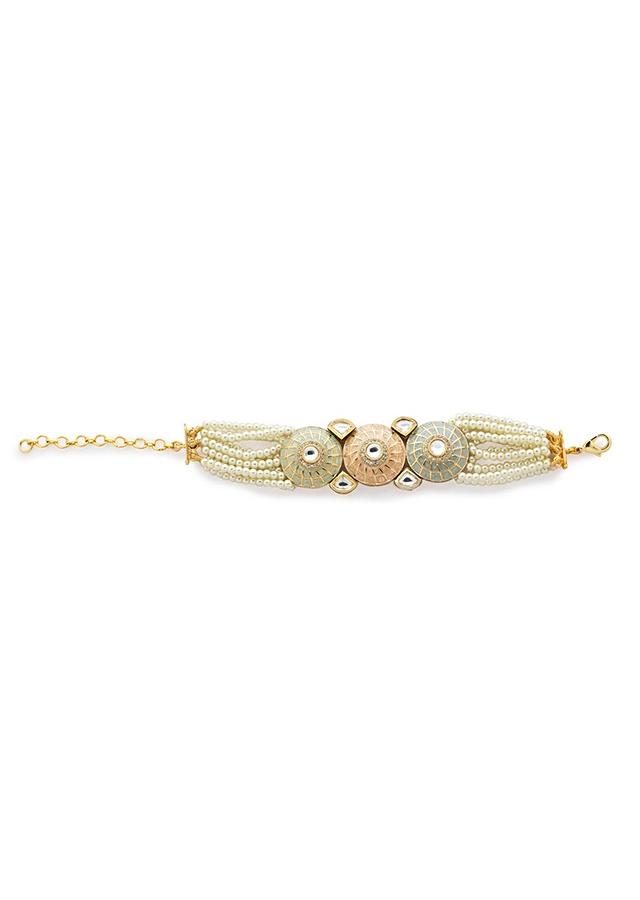 Off White Bracelet With Agate Bead Strings And Meenakari Work In Round Motifs Studded With Kundan And Swarovski Stone Online - Joules By Radhika