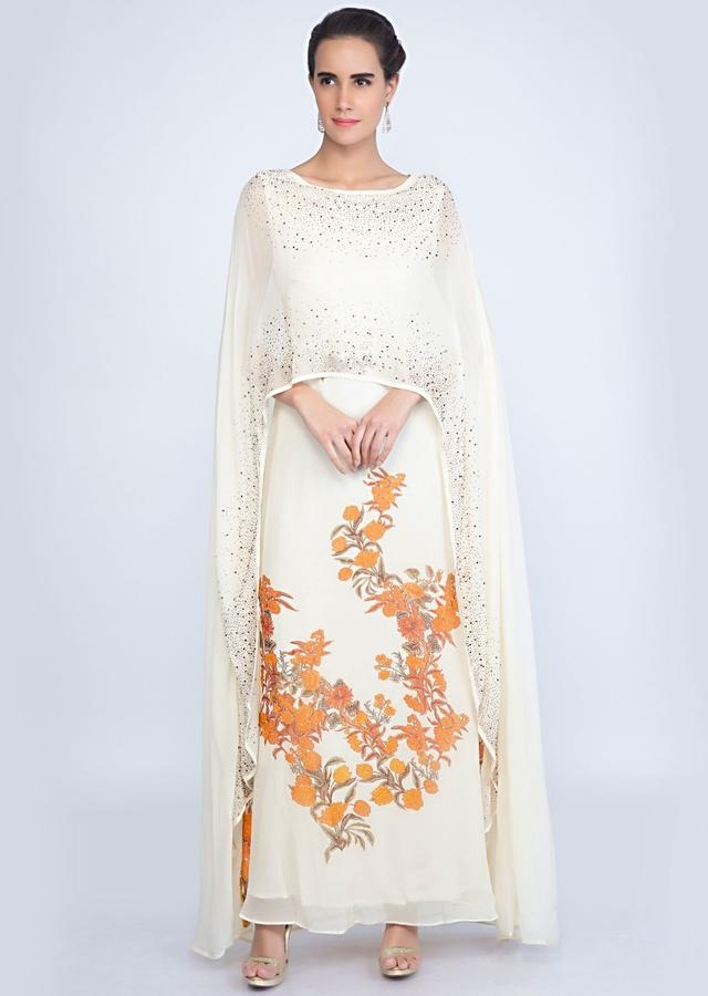 Off White Cape Tunic Dress With Contrasting Floral Print Online - Kalki Fashion