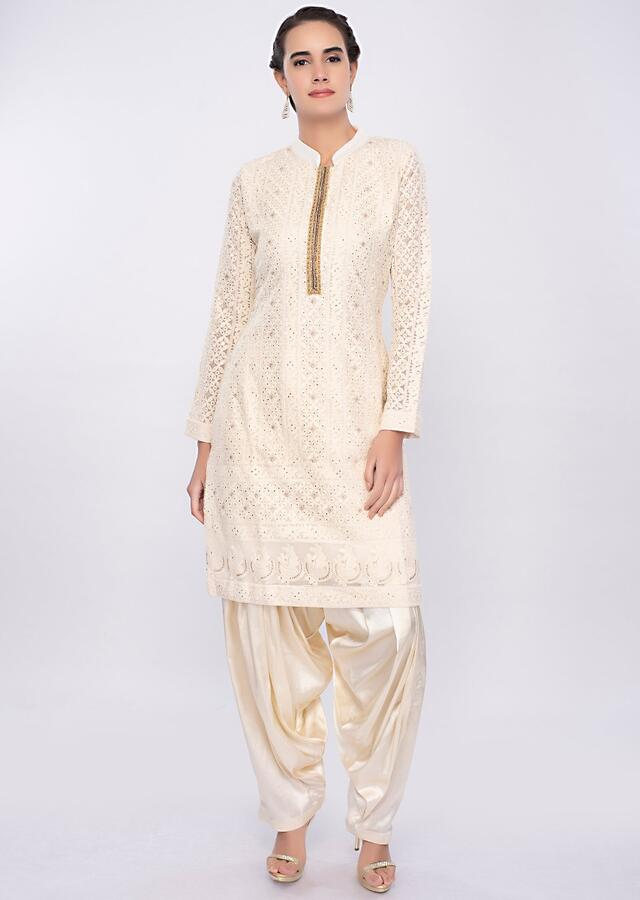 Off White Salwar Suit With Chikan Embroidery Online - Kalki Fashion
