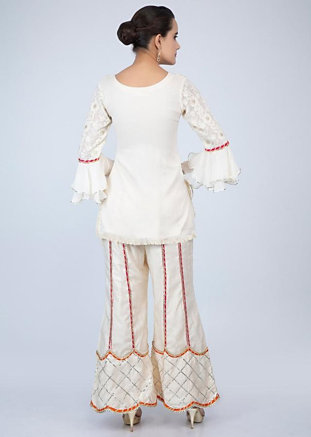Off White Suit With Chikan Embroidery And Lace Embroidered Palazzo Online - Kalki Fashion