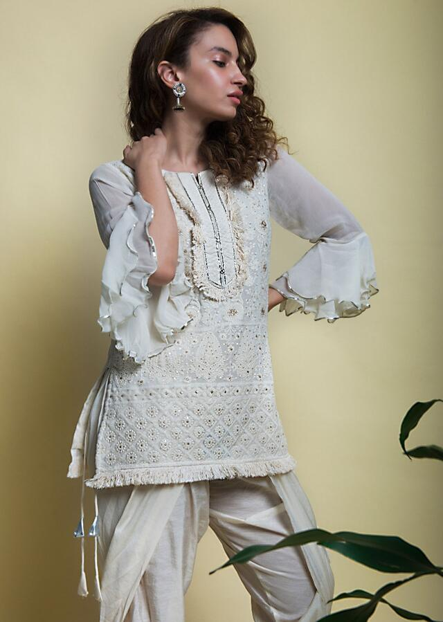 Off White Top With Chikan Embroidery And Dhoti Pant Online - Kalki Fashion