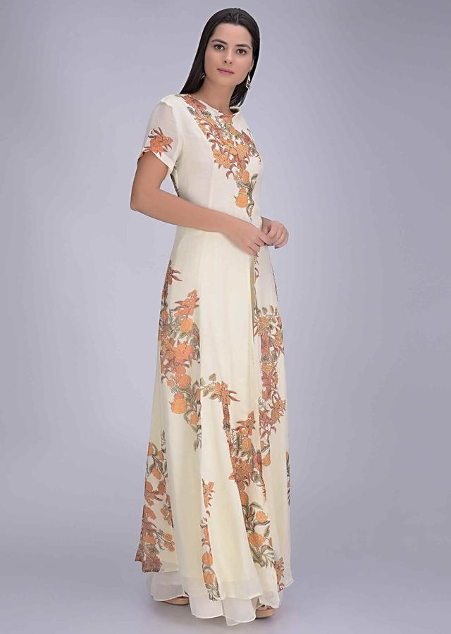 Off White Front Slit Suit In Chiffon With Sharara Pants Online - Kalki Fashion