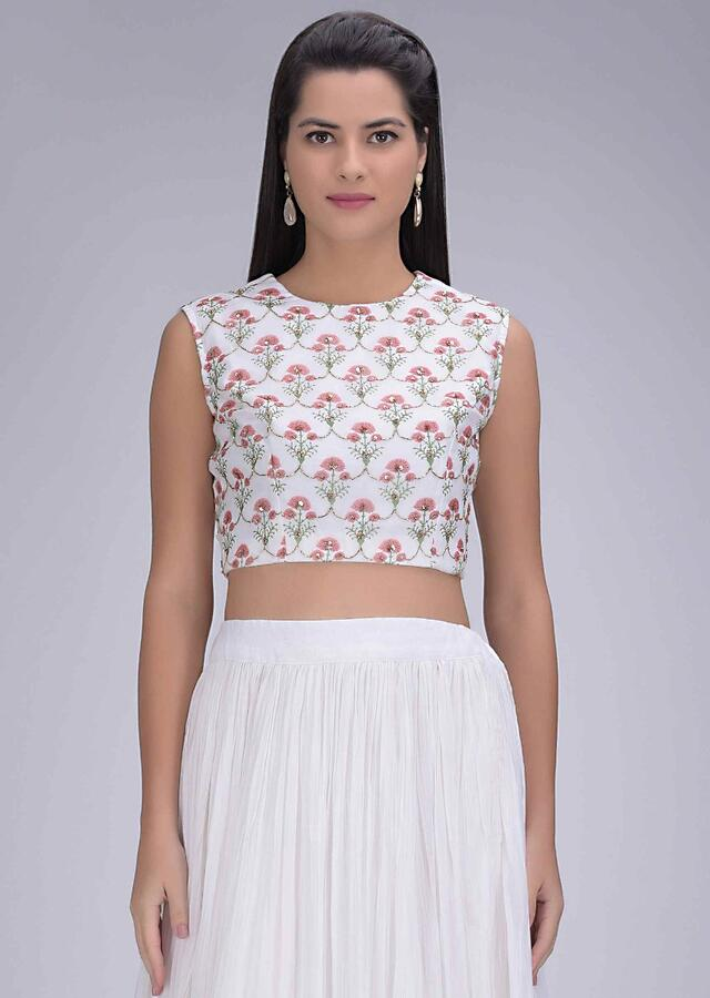 Off White Skirt In Georgette With Printed Chiffon Crop Top And Jacket Online - Kalki Fashion