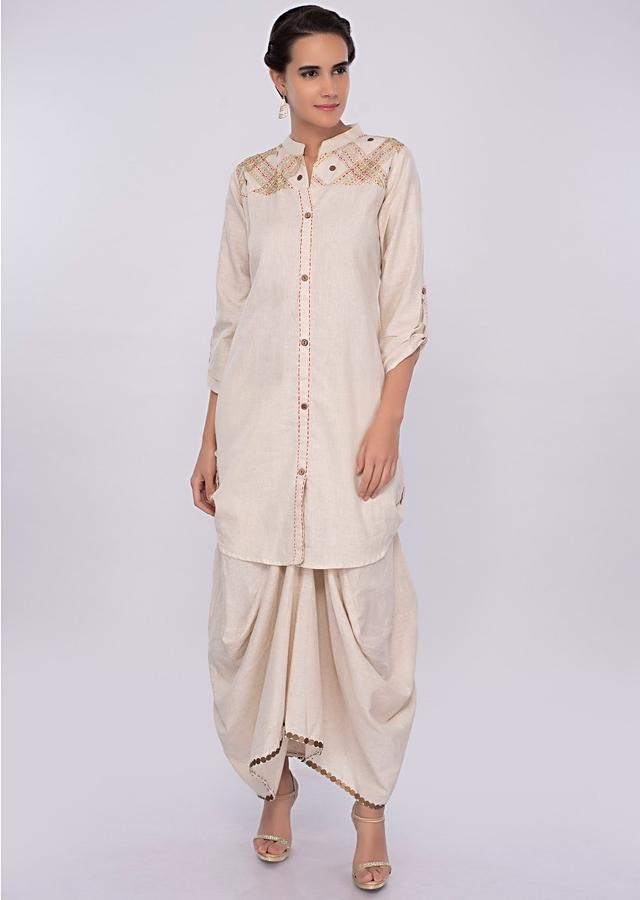Off White Suit In Cotton Jute With Fancy Skirt Online - Kalki Fashion