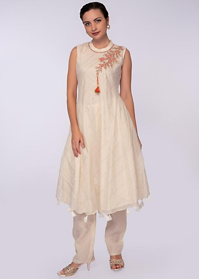 Off White Cotton Suit In Checks And Embroidered Butti On One Shoulder Online - Kalki Fashion