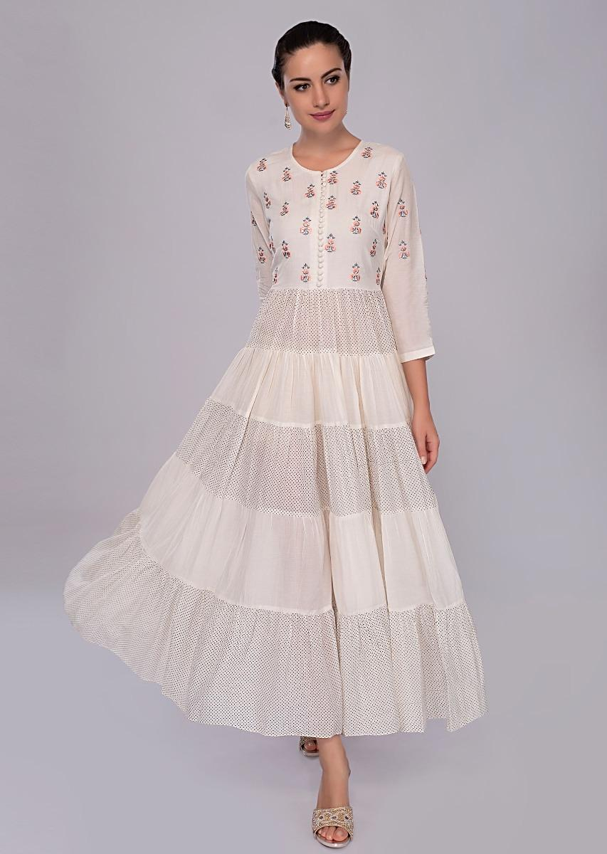 ad4ef4c9a0a8 Off white cotton tunic dress with resham embroidered only on KalkiMore  Detail