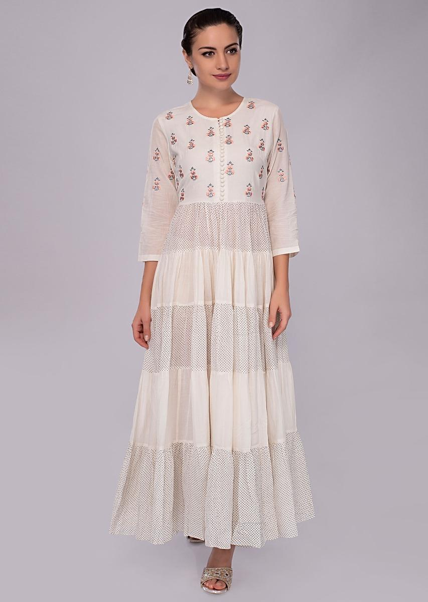 b4e80622334c Off white cotton tunic dress with resham embroidered only on Kalki