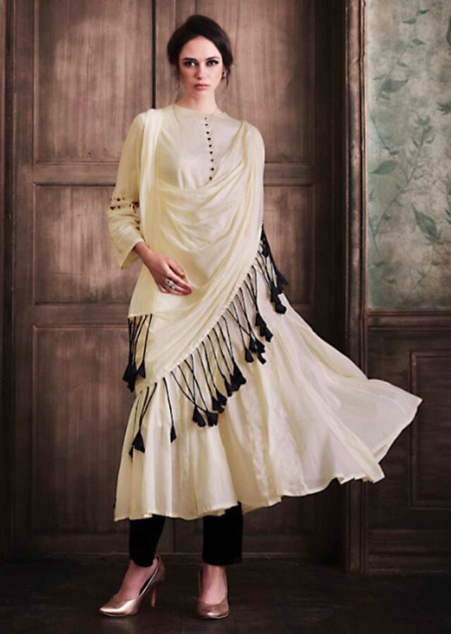 Off White Tunic In Cotton With Attached Dupatta Online - Kalki Fashion
