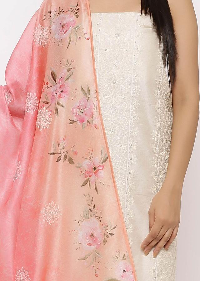 Off White Cotton Unstitched Suit In Thread  Work With Cotton Mask Online - Kalki Fashion