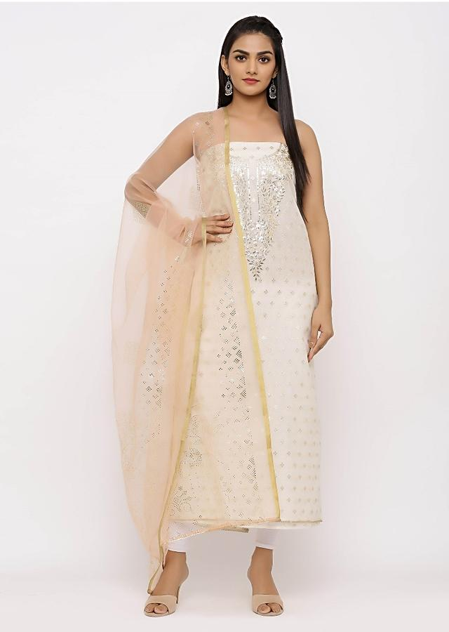 Off White Cotton Unstitched Suit In Thread And Mirror Work Online - Kalki Fashion