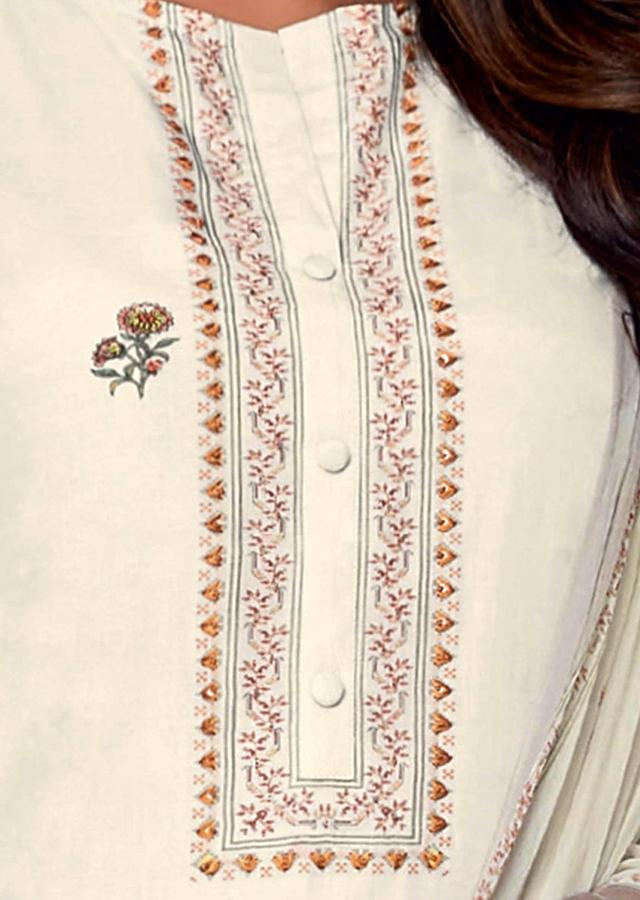 Off White Unstitched Suit Set In Cotton With Floral Print Online - Kalki Fashion