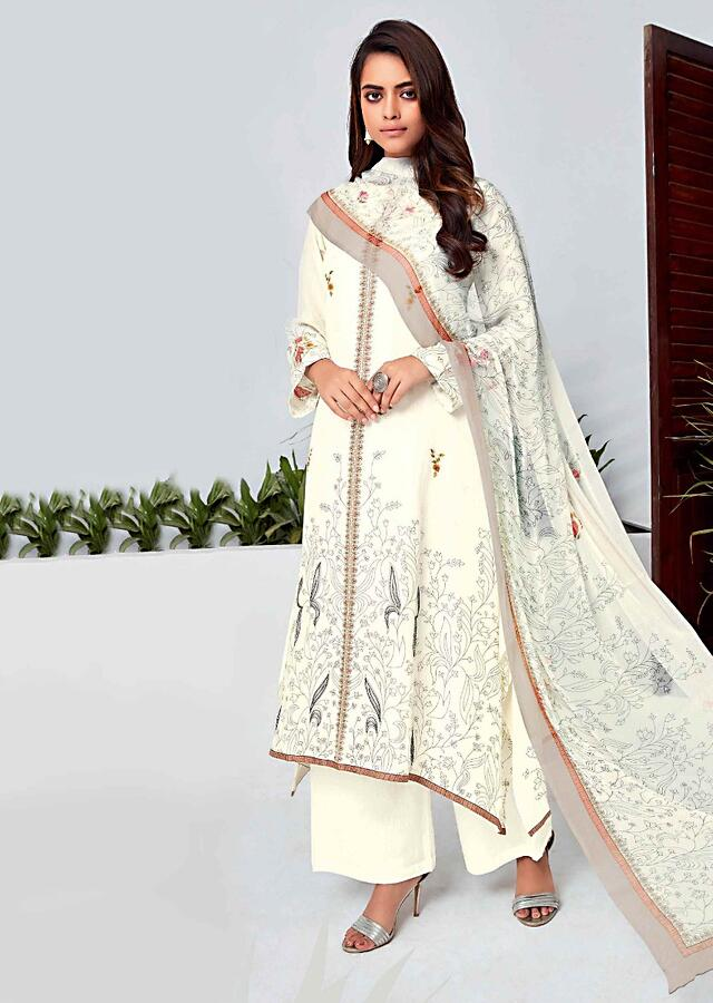 Off White Unstitched Suit Set In Cotton With Floral Print And Pinted Placket Design Online - Kalki Fashion