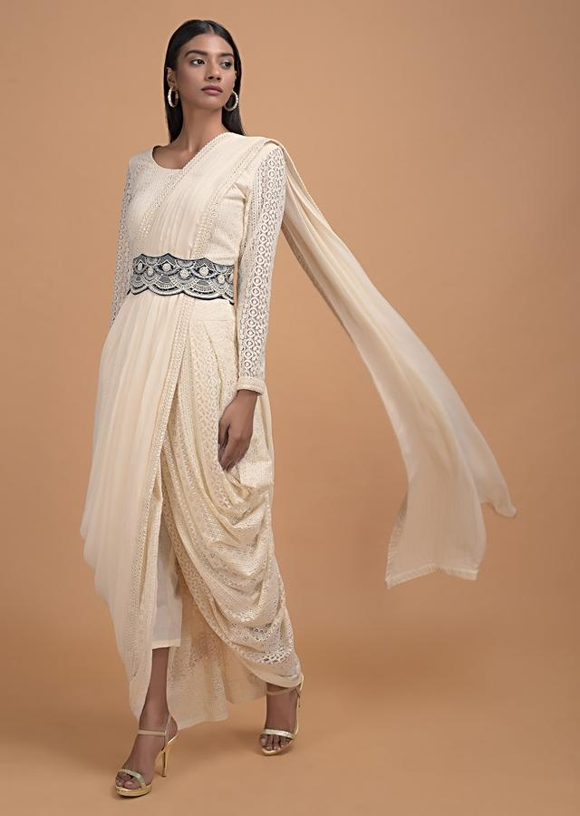 Off White Dhoti Saree In Lace With Ready Stitched Georgette Pallu And Embellished Belt Online - Kalki Fashion