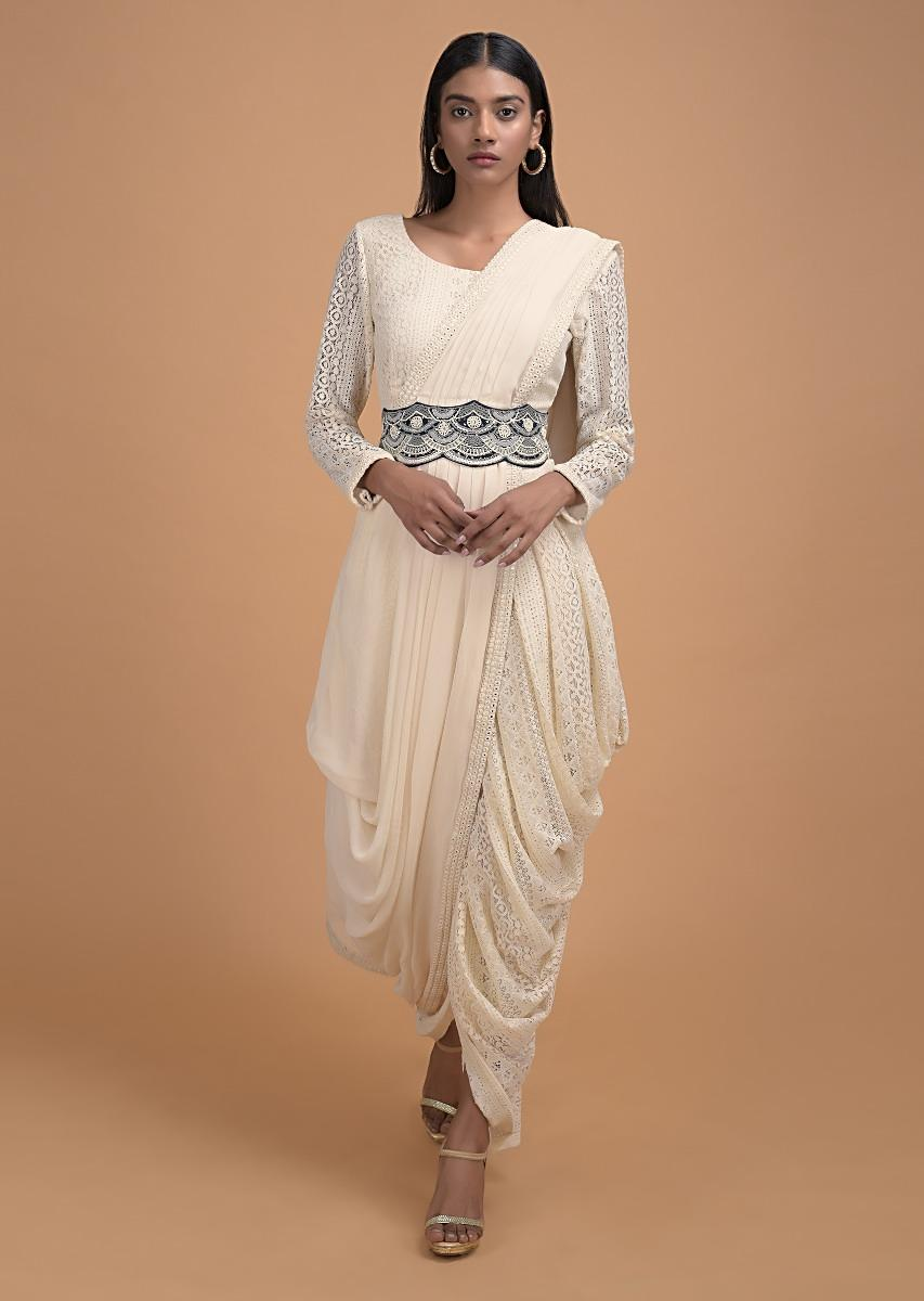 Buy Off White Dhoti Saree In Lace With Ready Stitched Georgette Pallu And Embellished Belt Online Kalki Fashion